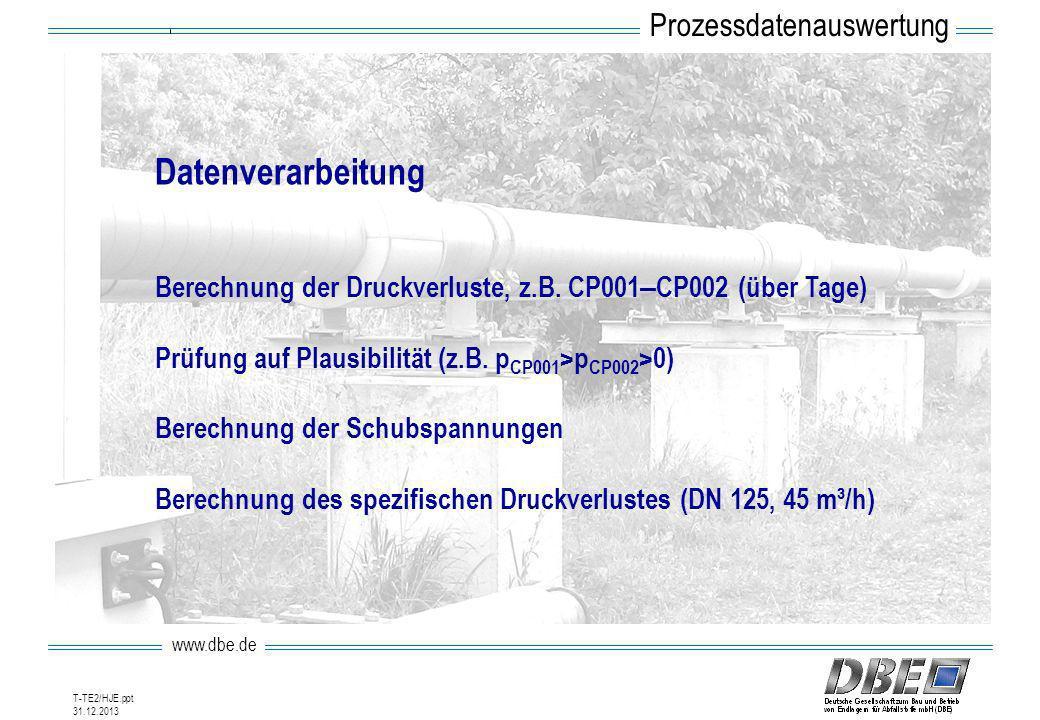 www.dbe.de 31.12.2013 T-TE2/HJE.ppt Datenverarbeitung Berechnung der Druckverluste, z.B. CP001 – CP002 (über Tage) Prüfung auf Plausibilität (z.B. p C
