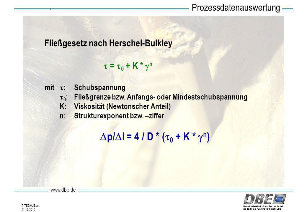 www.dbe.de 31.12.2013 T-TE2/HJE.ppt Fließgesetz nach Herschel-Bulkley = 0 + K * n mit :Schubspannung 0 :Fließgrenze bzw. Anfangs- oder Mindestschubspa