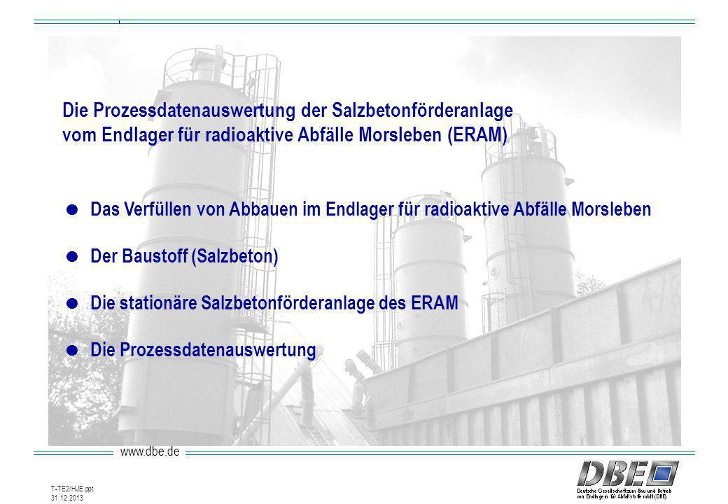www.dbe.de 31.12.2013 T-TE2/HJE.ppt Die Prozessdatenauswertung der Salzbetonförderanlage vom Endlager für radioaktive Abfälle Morsleben (ERAM) Das Ver