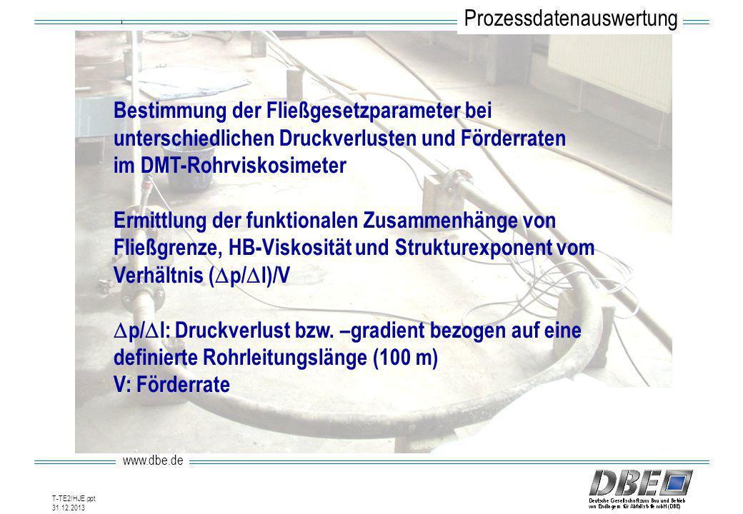 www.dbe.de 31.12.2013 T-TE2/HJE.ppt Bestimmung der Fließgesetzparameter bei unterschiedlichen Druckverlusten und Förderraten im DMT-Rohrviskosimeter E