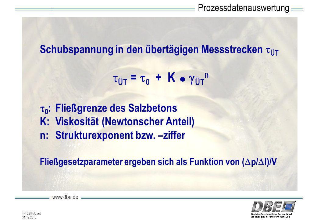 www.dbe.de 31.12.2013 T-TE2/HJE.ppt Schubspannung in den übertägigen Messstrecken ÜT ÜT = 0 + K ÜT n 0 :Fließgrenze des Salzbetons K:Viskosität (Newto