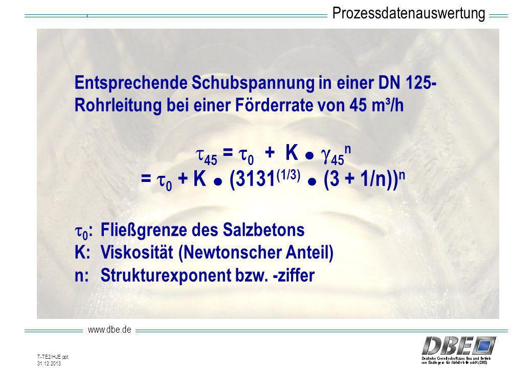 www.dbe.de 31.12.2013 T-TE2/HJE.ppt Entsprechende Schubspannung in einer DN 125- Rohrleitung bei einer Förderrate von 45 m³/h 45 = 0 + K 45 n = 0 + K