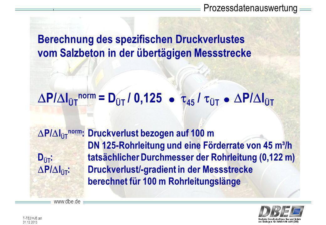 www.dbe.de 31.12.2013 T-TE2/HJE.ppt Berechnung des spezifischen Druckverlustes vom Salzbeton in der übertägigen Messstrecke P/ l ÜT norm = D ÜT / 0,12