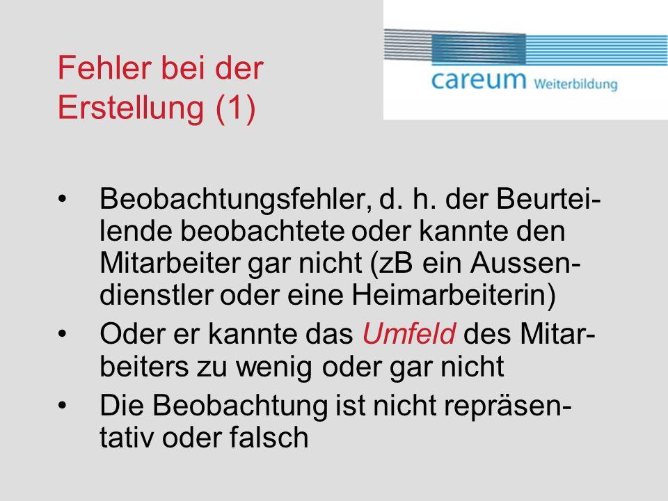 Fehler bei der Erstellung (1) Beobachtungsfehler, d.