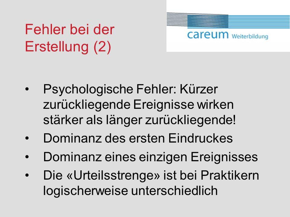 Fehler bei der Erstellung (2) Psychologische Fehler: Kürzer zurückliegende Ereignisse wirken stärker als länger zurückliegende.
