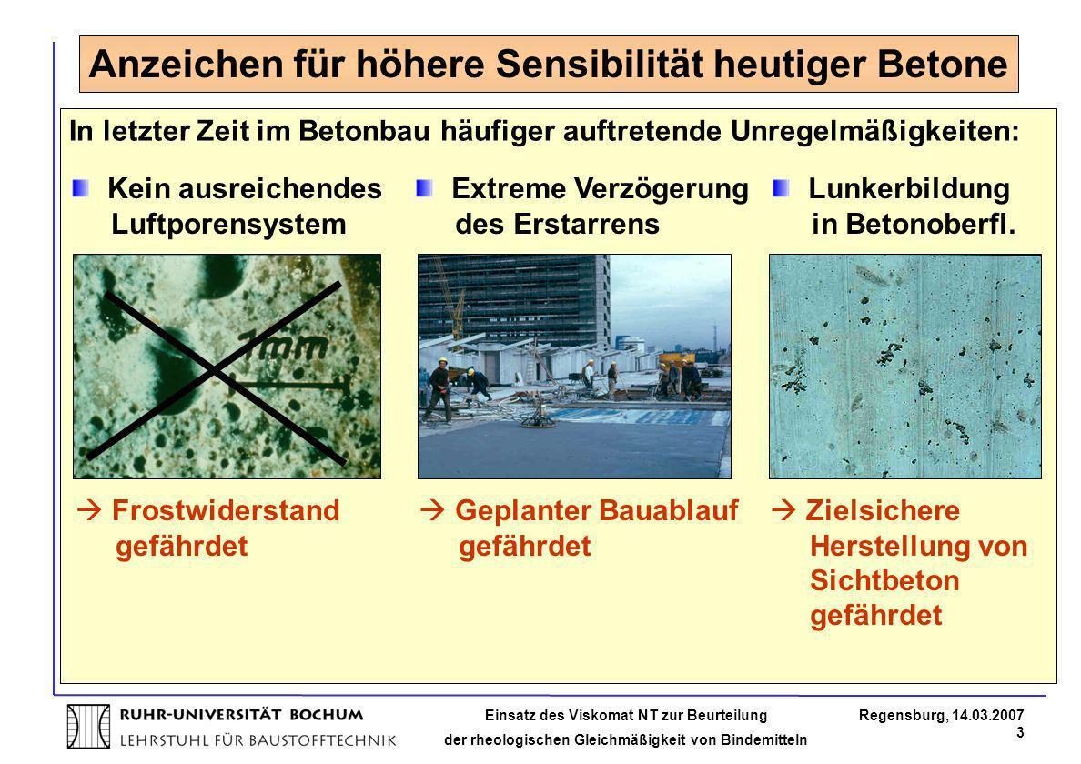 Einsatz des Viskomat NT zur Beurteilung der rheologischen Gleichmäßigkeit von Bindemitteln Regensburg, 14.03.2007 3 Anzeichen für höhere Sensibilität