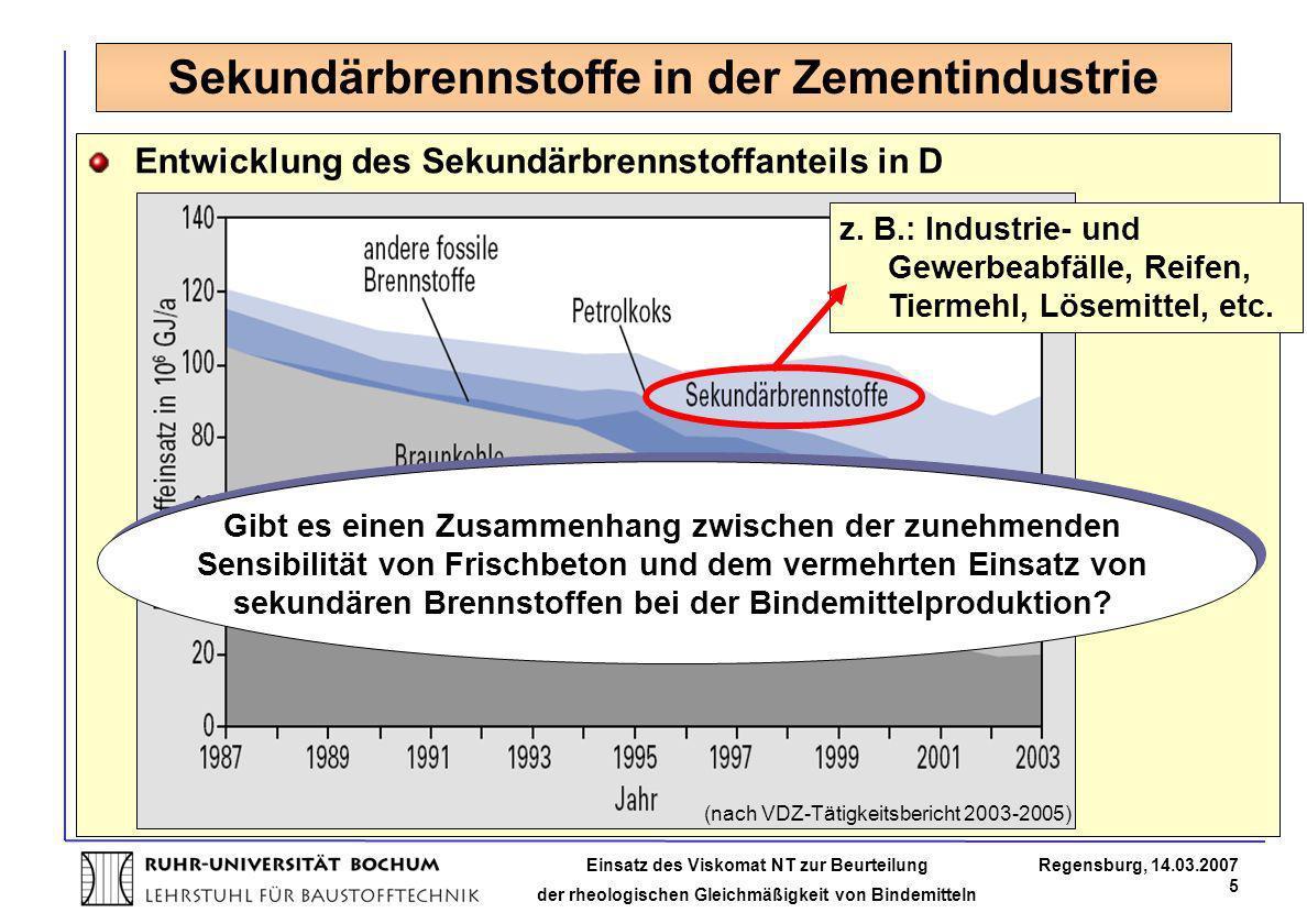 Einsatz des Viskomat NT zur Beurteilung der rheologischen Gleichmäßigkeit von Bindemitteln Regensburg, 14.03.2007 5 Sekundärbrennstoffe in der Zementi