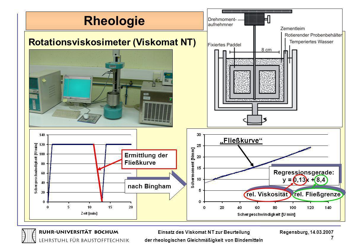 Einsatz des Viskomat NT zur Beurteilung der rheologischen Gleichmäßigkeit von Bindemitteln Regensburg, 14.03.2007 7 Rheologie Rotationsviskosimeter (V