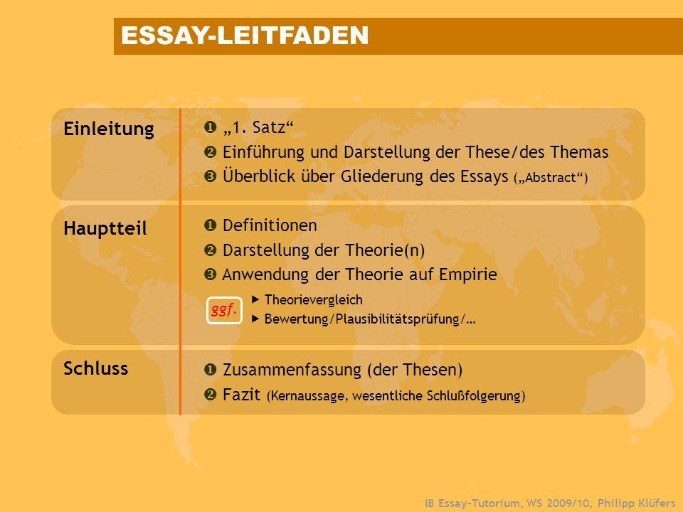 IB Essay-Tutorium, WS 2009/10, Philipp Klüfers ESSAY-LEITFADEN Einleitung 1. Satz Einführung und Darstellung der These/des Themas Überblick über Glied