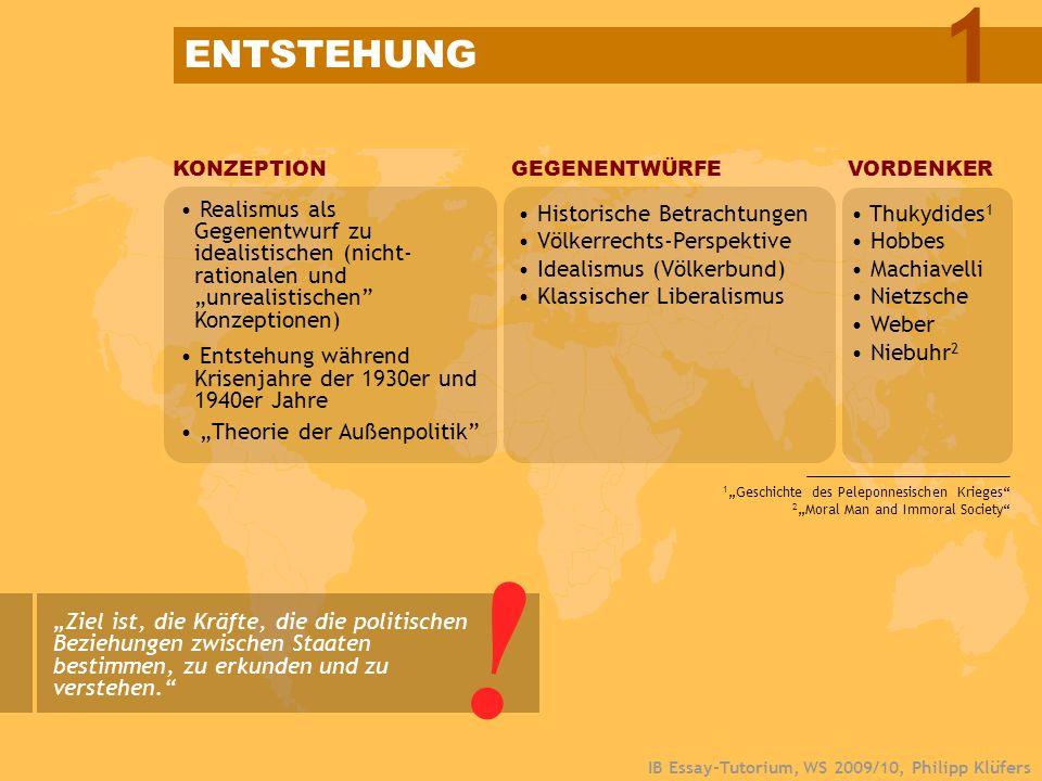 IB Essay-Tutorium, WS 2009/10, Philipp Klüfers KONZEPTION Realismus als Gegenentwurf zu idealistischen (nicht- rationalen und unrealistischen Konzepti