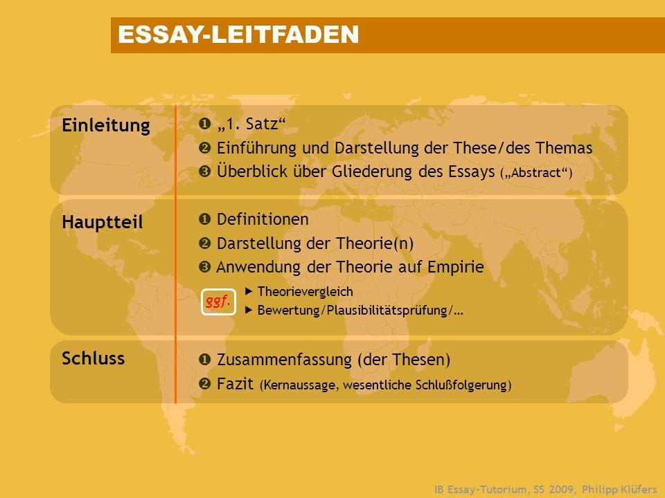 IB Essay-Tutorium, SS 2009, Philipp Klüfers ESSAY-LEITFADEN Einleitung 1. Satz Einführung und Darstellung der These/des Themas Überblick über Gliederu