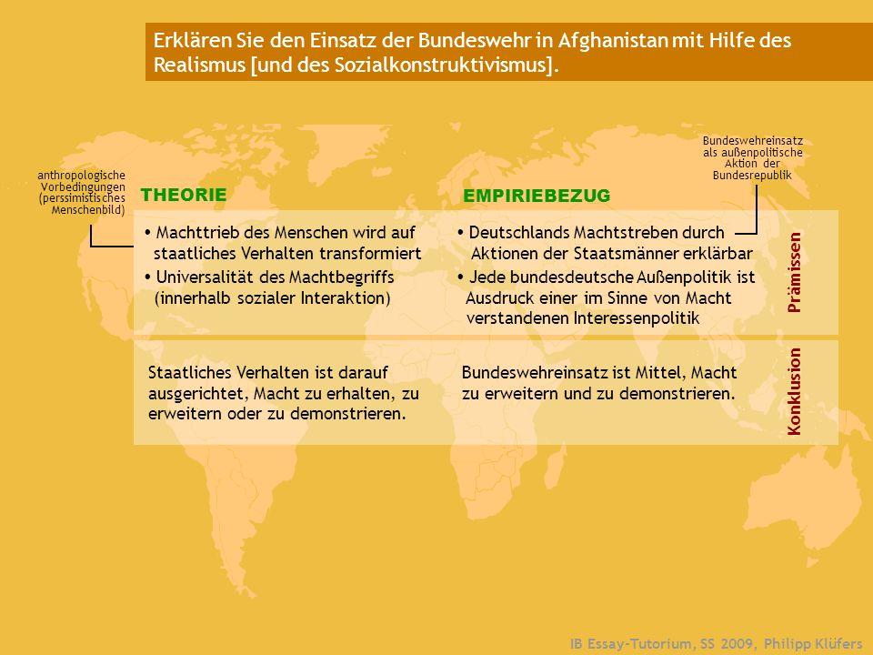 IB Essay-Tutorium, SS 2009, Philipp Klüfers 1 Theorieverständnis 2 Struktureller Realismus a) Politische Strukturen b) Mechanismus Waltz: Theory of International Politics (1979) NEOREALISMUS