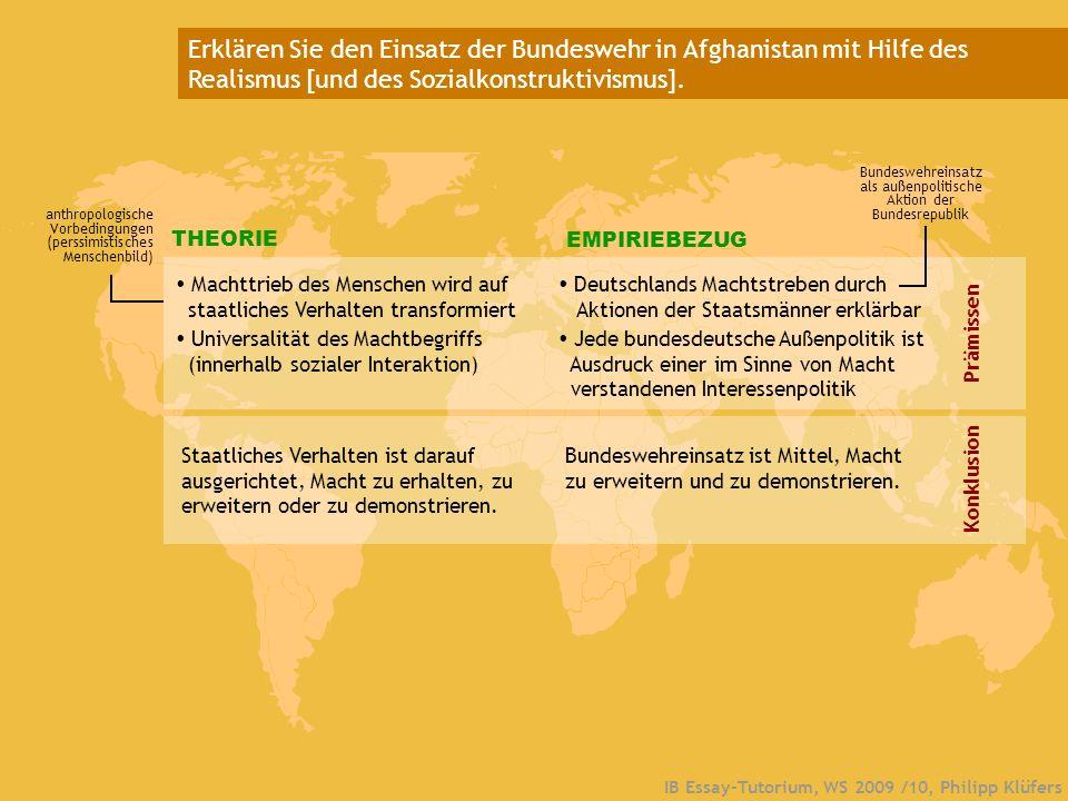 IB Essay-Tutorium, WS 2009 /10, Philipp Klüfers Erklären Sie den Einsatz der Bundeswehr in Afghanistan mit Hilfe des Realismus [und des Sozialkonstruk