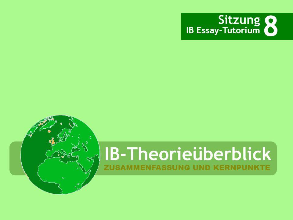 IB-Theorieüberblick Sitzung IB Essay-Tutorium 8 ZUSAMMENFASSUNG UND KERNPUNKTE