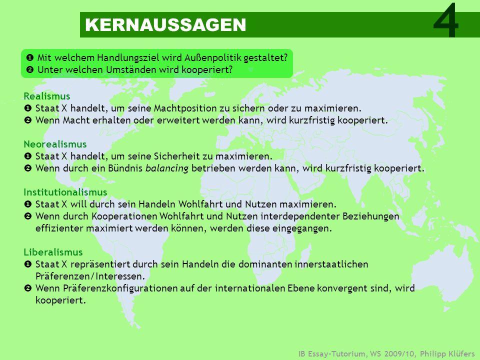 IB Essay-Tutorium, WS 2009/10, Philipp Klüfers Sozialkonstruktivismus Staat X interpretiert sein Umfeld (Situation) und handelt sozialen Normen angemessen.