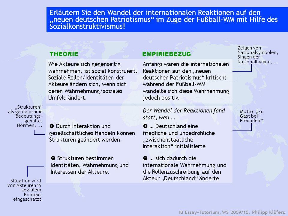 IB Essay-Tutorium, WS 2009/10, Philipp Klüfers Erläutern Sie den Wandel der internationalen Reaktionen auf den neuen deutschen Patriotismus im Zuge de