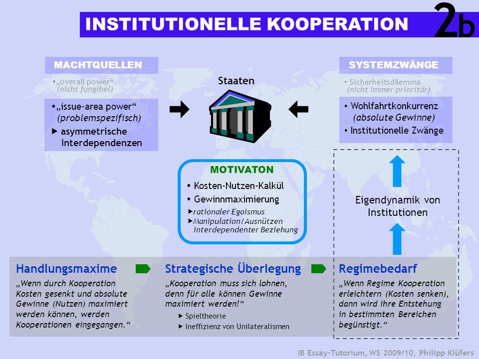 IB Essay-Tutorium, WS 2009/10, Philipp Klüfers Handlungsmaxime Wenn durch Kooperation Kosten gesenkt und absolute Gewinne (Nutzen) maximiert werden kö