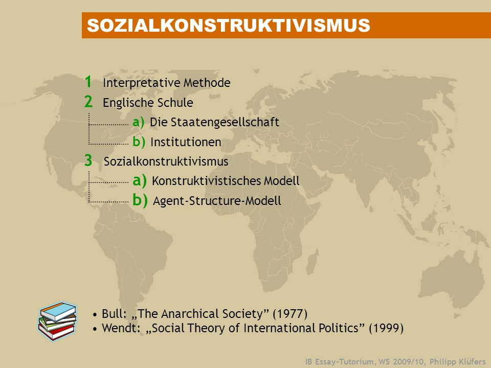 IB Essay-Tutorium, WS 2009/10, Philipp Klüfers 1 Interpretative Methode 2 Englische Schule a) Die Staatengesellschaft b) Institutionen 3 Sozialkonstruktivismus a) Konstruktivistisches Modell b) Agent-Structure-Modell Bull: The Anarchical Society (1977) Wendt: Social Theory of International Politics (1999) SOZIALKONSTRUKTIVISMUS