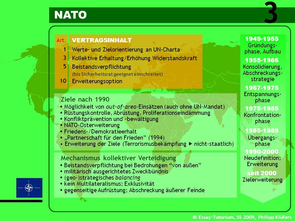 IB Essay-Tutorium, SS 2009, Philipp Klüfers Werte- und Zielorientierung an UN-Charta Kollektive Erhaltung/Erhöhung Widerstandskraft Beistandsverpflich