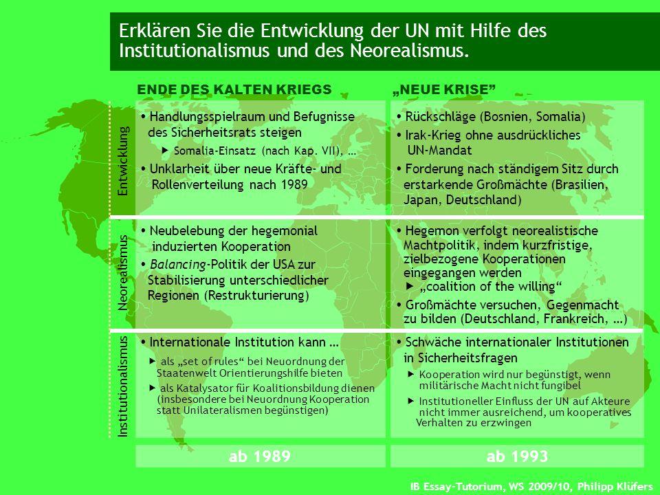 IB Essay-Tutorium, WS 2009/10, Philipp Klüfers Erklären Sie die Entwicklung der UN mit Hilfe des Institutionalismus und des Neorealismus. ENDE DES KAL