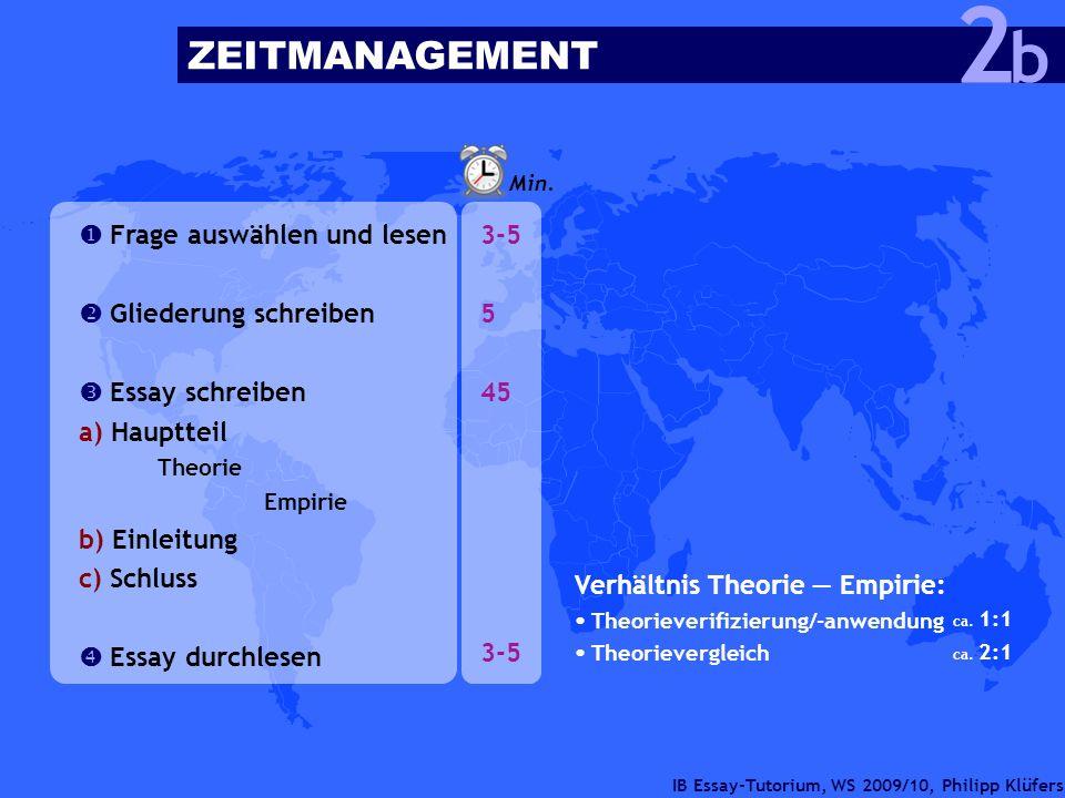 IB Essay-Tutorium, WS 2009/10, Philipp Klüfers ZEITMANAGEMENT b 2 Frage auswählen und lesen Gliederung schreiben Essay schreiben a) Hauptteil Theorie