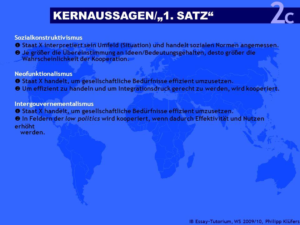 IB Essay-Tutorium, WS 2009/10, Philipp Klüfers Sozialkonstruktivismus Staat X interpretiert sein Umfeld (Situation) und handelt sozialen Normen angeme