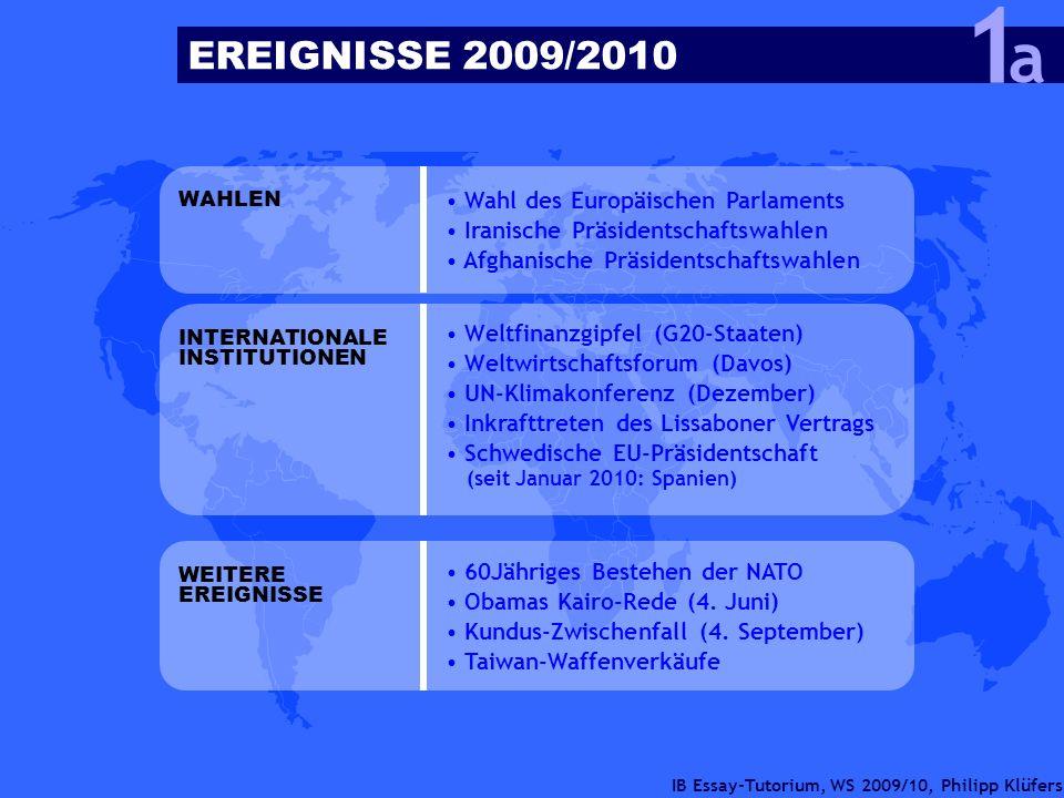 IB Essay-Tutorium, WS 2009/10, Philipp Klüfers EREIGNISSE 2009/2010 a 1 Wahl des Europäischen Parlaments Iranische Präsidentschaftswahlen Afghanische