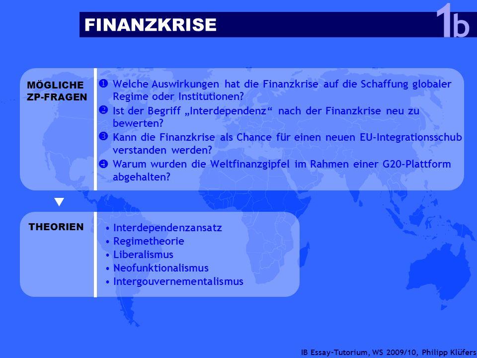 IB Essay-Tutorium, WS 2009/10, Philipp Klüfers FINANZKRISE b 1 Welche Auswirkungen hat die Finanzkrise auf die Schaffung globaler Regime oder Institut