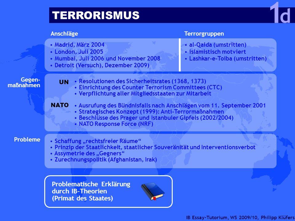 IB Essay-Tutorium, WS 2009/10, Philipp Klüfers Anschläge Madrid, März 2004 London, Juli 2005 Mumbai, Juli 2006 und November 2008 Detroit (Versuch), De