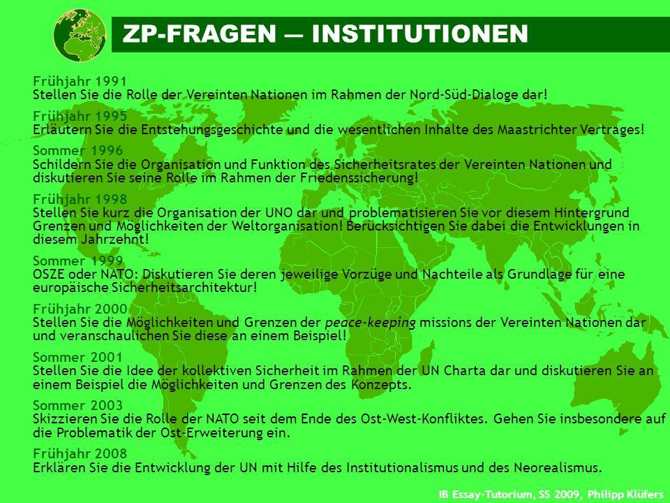IB Essay-Tutorium, SS 2009, Philipp Klüfers Frühjahr 1991 Stellen Sie die Rolle der Vereinten Nationen im Rahmen der Nord-Süd-Dialoge dar! Frühjahr 19