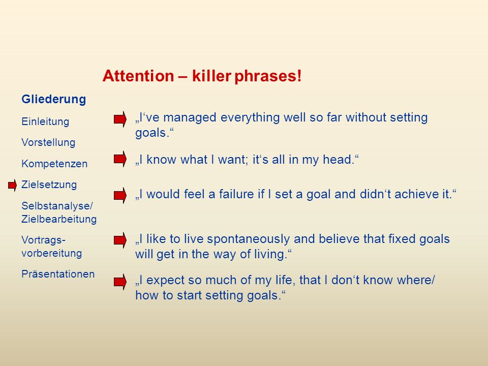 Attention – killer phrases. Ive managed everything well so far without setting goals.
