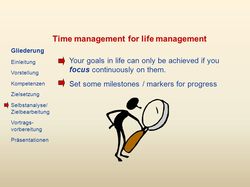 Time management for life management Your goals in life can only be achieved if you focus continuously on them.