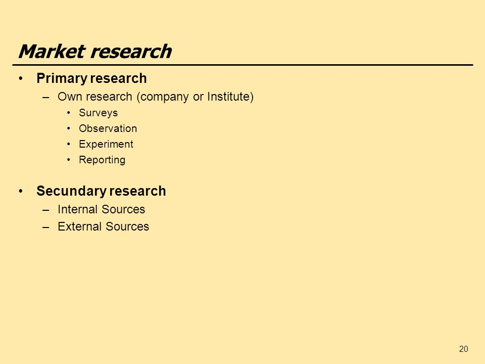 20 Market research Primary research –Own research (company or Institute) Surveys Observation Experiment Reporting Secundary research –Internal Sources –External Sources