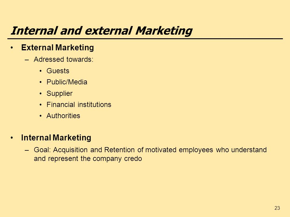 23 Internal and external Marketing External Marketing –Adressed towards: Guests Public/Media Supplier Financial institutions Authorities Internal Mark
