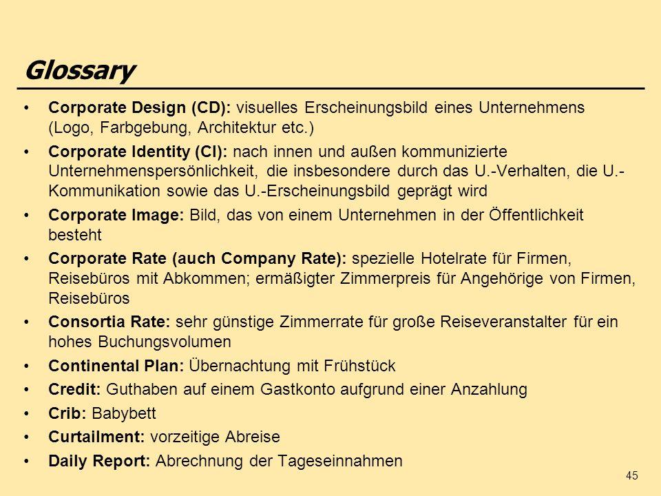 45 Glossary Corporate Design (CD): visuelles Erscheinungsbild eines Unternehmens (Logo, Farbgebung, Architektur etc.) Corporate Identity (CI): nach in