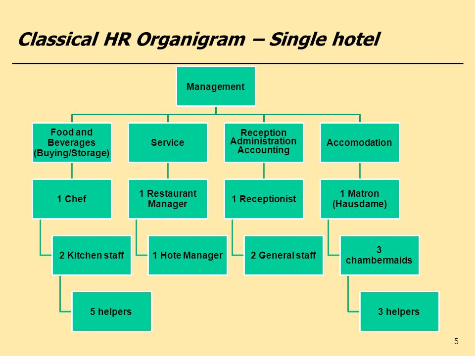 5 Classical HR Organigram – Single hotel Management Food and Beverages (Buying/Storage) 1 Chef 2 Kitchen staff 5 helpers Service 1 Restaurant Manager
