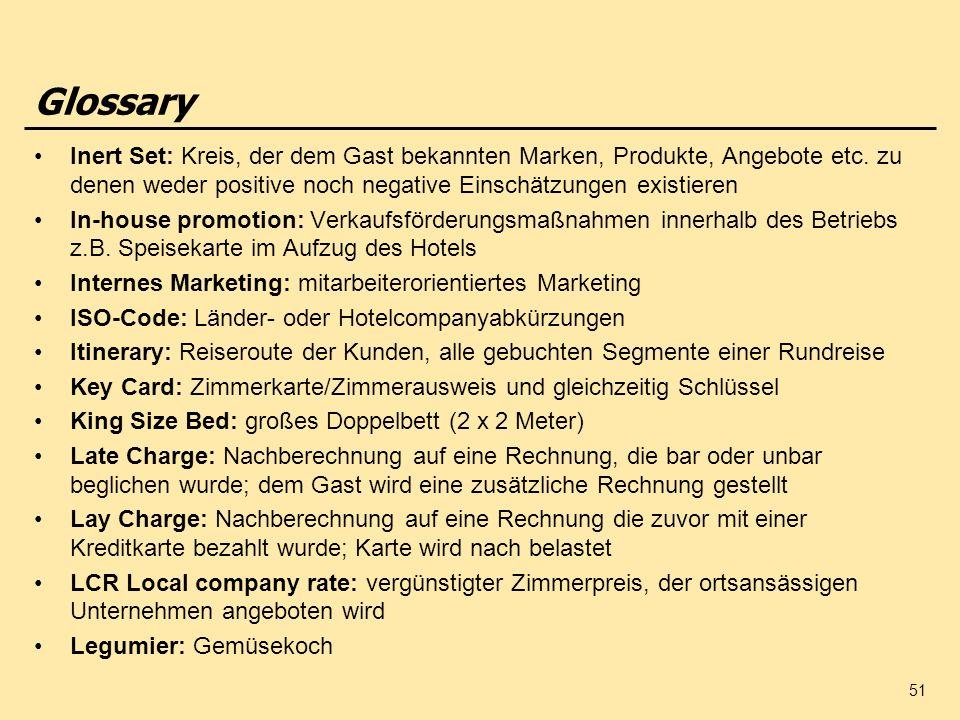 51 Glossary Inert Set: Kreis, der dem Gast bekannten Marken, Produkte, Angebote etc. zu denen weder positive noch negative Einschätzungen existieren I