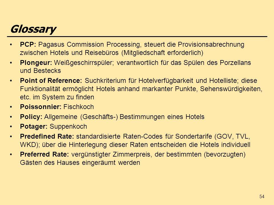 54 PCP: Pagasus Commission Processing, steuert die Provisionsabrechnung zwischen Hotels und Reisebüros (Mitgliedschaft erforderlich) Plongeur: Weißges