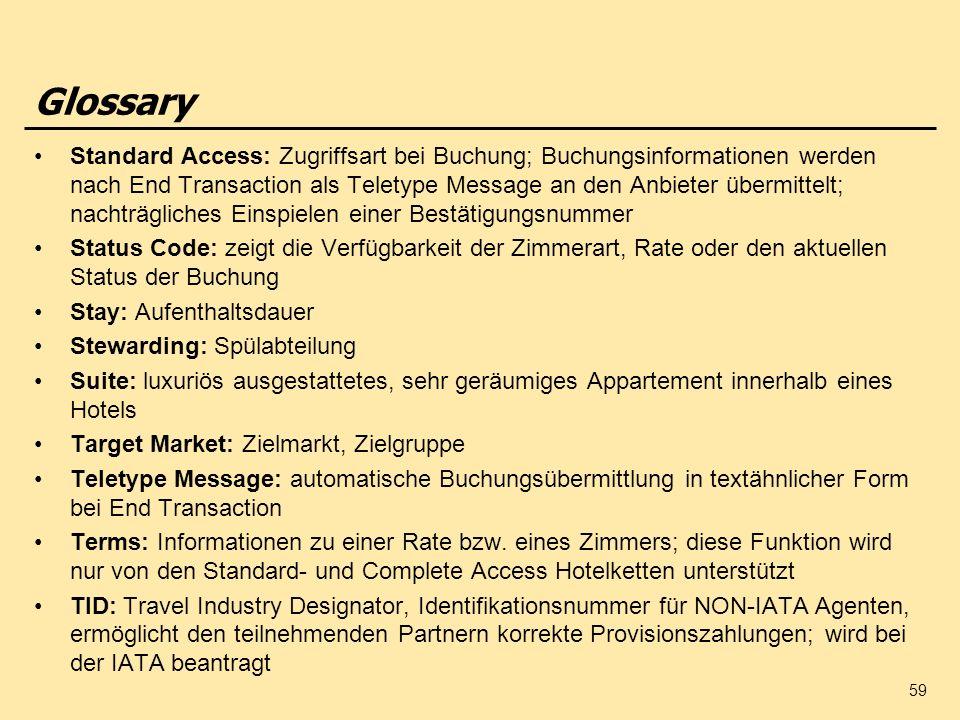 59 Glossary Standard Access: Zugriffsart bei Buchung; Buchungsinformationen werden nach End Transaction als Teletype Message an den Anbieter übermitte
