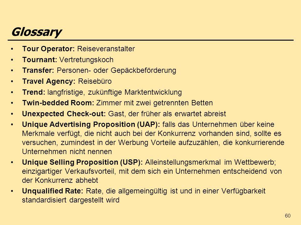 60 Glossary Tour Operator: Reiseveranstalter Tournant: Vertretungskoch Transfer: Personen- oder Gepäckbeförderung Travel Agency: Reisebüro Trend: lang