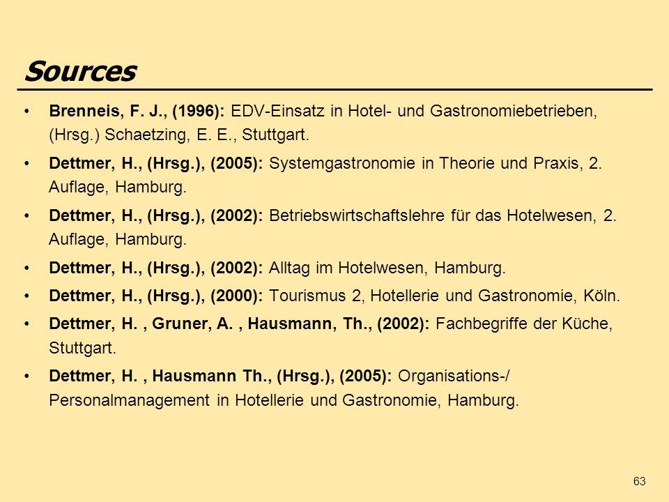 63 Sources Brenneis, F. J., (1996): EDV-Einsatz in Hotel- und Gastronomiebetrieben, (Hrsg.) Schaetzing, E. E., Stuttgart. Dettmer, H., (Hrsg.), (2005)
