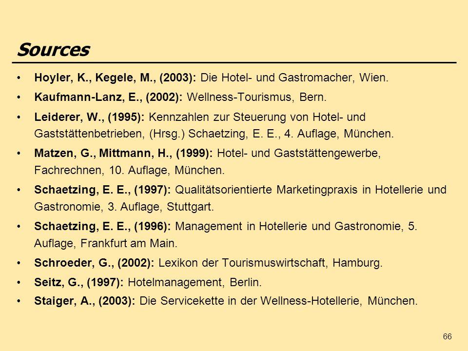 66 Hoyler, K., Kegele, M., (2003): Die Hotel- und Gastromacher, Wien. Kaufmann-Lanz, E., (2002): Wellness-Tourismus, Bern. Leiderer, W., (1995): Kennz