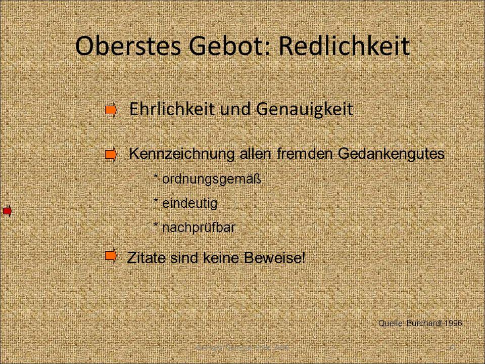 Oberstes Gebot: Redlichkeit Ehrlichkeit und Genauigkeit Quelle: Burchardt,1996 Kennzeichnung allen fremden Gedankengutes * ordnungsgemäß * eindeutig *