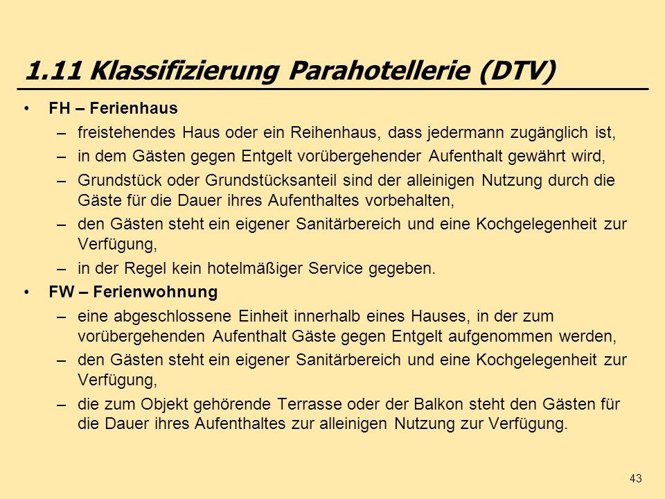 43 1.11 Klassifizierung Parahotellerie (DTV) FH – Ferienhaus –freistehendes Haus oder ein Reihenhaus, dass jedermann zugänglich ist, –in dem Gästen ge
