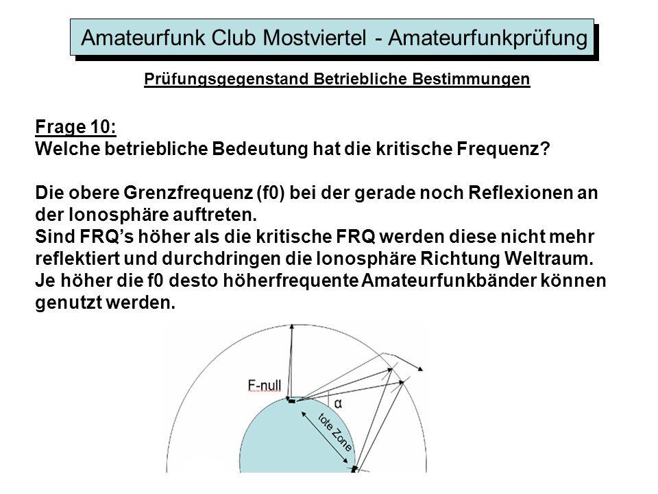 Amateurfunk Club Mostviertel - Amateurfunkprüfung Prüfungsgegenstand Betriebliche Bestimmungen Frage 10: Welche betriebliche Bedeutung hat die kritisc