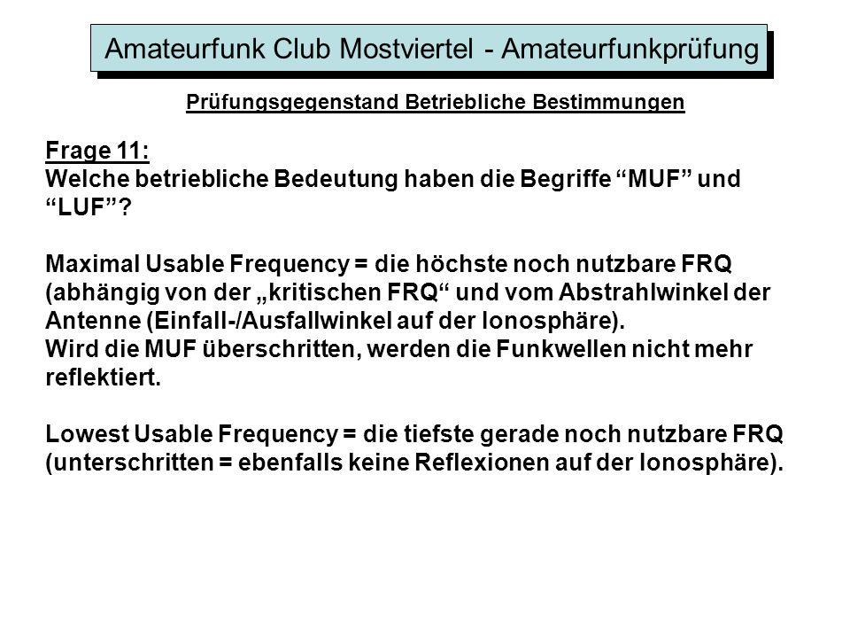 Amateurfunk Club Mostviertel - Amateurfunkprüfung Prüfungsgegenstand Betriebliche Bestimmungen Frage 11: Welche betriebliche Bedeutung haben die Begri