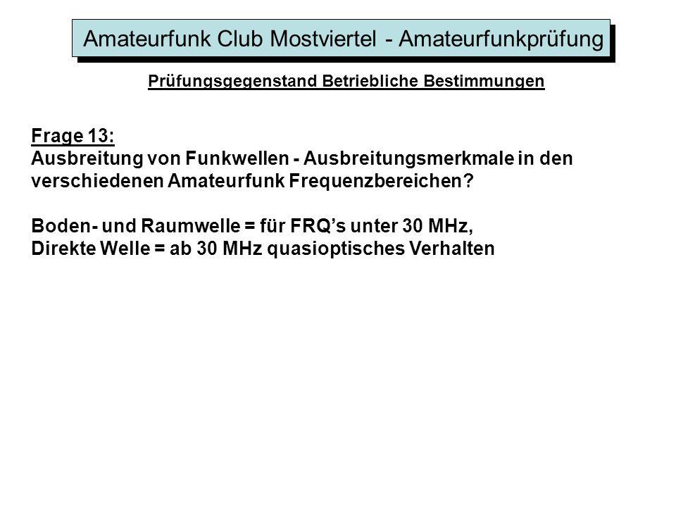 Amateurfunk Club Mostviertel - Amateurfunkprüfung Prüfungsgegenstand Betriebliche Bestimmungen Frage 13: Ausbreitung von Funkwellen - Ausbreitungsmerk