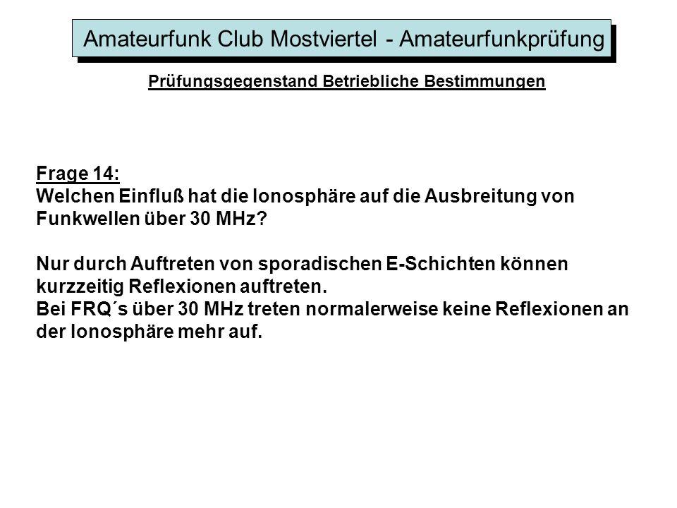 Amateurfunk Club Mostviertel - Amateurfunkprüfung Prüfungsgegenstand Betriebliche Bestimmungen Frage 14: Welchen Einfluß hat die Ionosphäre auf die Au