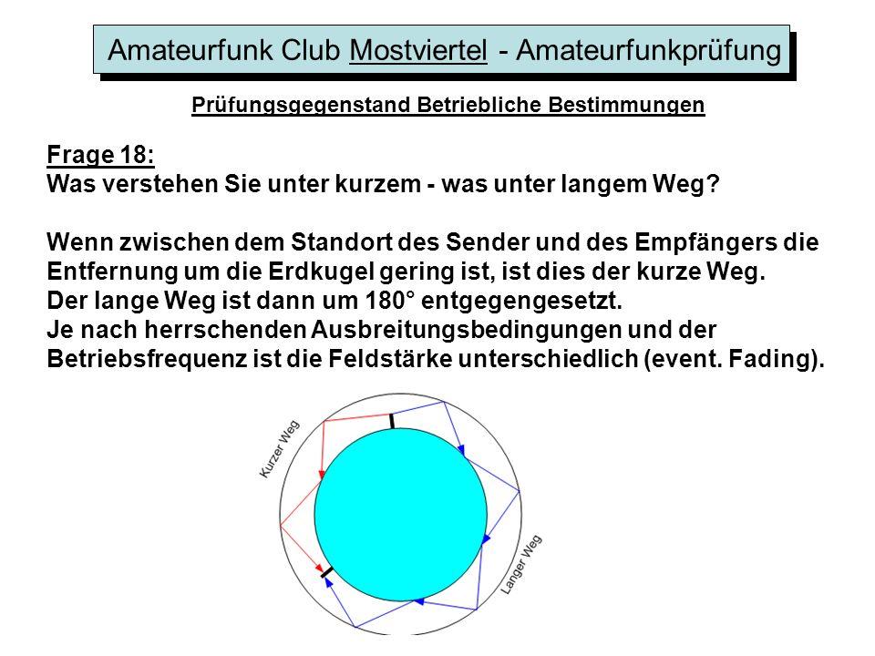 Amateurfunk Club Mostviertel - Amateurfunkprüfung Prüfungsgegenstand Betriebliche Bestimmungen Frage 18: Was verstehen Sie unter kurzem - was unter la