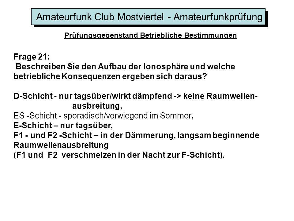 Amateurfunk Club Mostviertel - Amateurfunkprüfung Prüfungsgegenstand Betriebliche Bestimmungen Frage 21: Beschreiben Sie den Aufbau der lonosphäre und